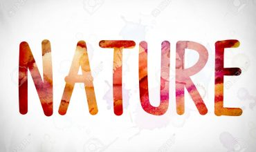 """The word """"Nature"""" written in watercolor washes over a white paper background concept and theme."""